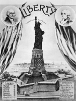 0125198 © Granger - Historical Picture ArchiveSTATUE OF LIBERTY, 1885.   'Liberty Enlightening the World.' American sheet music cover, 1885, for compositions by Frederick A. Rothstein. Portraits of President George Washington and the Marquis de Lafayette symbolize the Franco-American friendship.