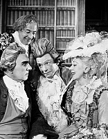 0016394 © Granger - Historical Picture ArchiveSCHOOL FOR SCANDAL.   Sir Ralph Richardson as Sir Peter Teazle, Charles Lloyd Park as Crabtree, Peter Barkworth as Backbite, and Gwen Ffrangcon-Davies in a London, England, production of Richard B. Sheridan's