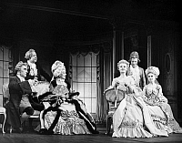 0016395 © Granger - Historical Picture ArchiveSCHOOL FOR SCANDAL.   Sir Ralph Richardson as Sir Peter Teazle, Charles Lloyd Park as Crabtree, Gwen Ffrangcon-Davies as Mrs. Candour, Geraldine McEwan as Lady Teazle, Peter Barkworth as Backbite, and Muriel Forbes as Lady Sneerwell in a London, England, production of Richard B. Sheridan, late 1950s.