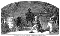 0016684 © Granger - Historical Picture ArchiveFRANKENSTEIN.   Scene from an 1850 stage adaptation of 'Frankenstein,' Mary Wollstonecraft Shelley's 1818 novel, at the Adelphi Theater, London. Contemporary English wood engraving.