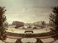0018538 © Granger - Historical Picture ArchiveTHEATRE: STAGE SET, 1664.   Set by C. Vigarani for a play performed during the 'Pleasures of the Enchanted Island (Plaisirs de l'Ile Enchantée)' festival held by King Louis XIV at the Palace of Versailles, 9 May 1664. Engraving by Israel Sylvestre.