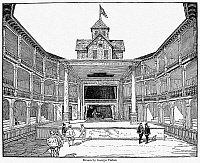 0041654 © Granger - Historical Picture ArchiveLONDON: GLOBE THEATRE.   Drawing (reconstruction) of the second Globe Theater. From a conjurer's circle on the floor cloth, Faustus is raising Mephistopheles, 17th century.