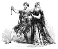0054934 © Granger - Historical Picture ArchiveSHAKESPEARE: MACBETH, 1845.   American actors Edwin Forrest in the title role and Charlotte Saunders Cushman as Lady Macbeth at the Princess Theatre, London, in 1845: contemporary English line engraving.