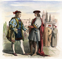 0057031 © Granger - Historical Picture ArchiveTWO GENTLEMEN OF VERONA.   The two gentlemen, Valentine and Proteus, meet in a piazza in Verona: wood engraving, 19th century, after Sir John Gilbert for William Shakespeare's The Two Gentlemen of Verona (Act I, scene 1).