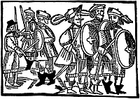 0065079 © Granger - Historical Picture ArchiveROMEO AND JULIET.   A quarrel between the Montagues and the Capulets. Woodcut, early 17th century.