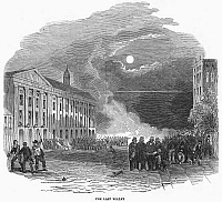 0080258 © Granger - Historical Picture ArchiveNEW YORK: ASTOR PLACE RIOT.   Riot in front of the Italian Opera House at Astor Place, New York City on 10 May 1849. Contemporary wood engraving.