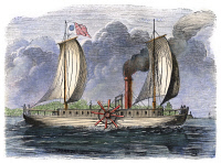 0080294 © Granger - Historical Picture ArchiveROBERT FULTON'S CLERMONT.   Robert Fulton's steamboat, 'Clermont,' built in 1807. Color engraving, 19th century.
