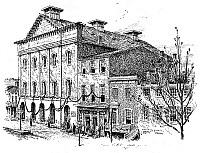 0080318 © Granger - Historical Picture ArchiveFORD'S THEATRE, 1865.   Ford's Theatre, Washington, D.C., draped in mourning after the assassination of President Abraham Lincoln. Pen-and-ink drawing, 1896, by Charles A. Vanderhoof, after a photograph by Alexander Gardner taken immediately after the assassination.