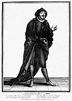 0098754 © Granger - Historical Picture ArchiveCOMMEDIA: SCARAMOUCHE.   Tiberio Fiorillo as Scaramouche, the character from the Italian commedia dell'arte. Etching, French, late-17th century, by N. Bonnart.