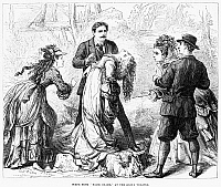 0122578 © Granger - Historical Picture ArchiveTHEATER: FALSE SHAME, 1872.   Scene from the play, 'False Shame,' performed at the Globe Theater in London, England. Wood engraving, English, 1872.