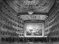 0124614 © Granger - Historical Picture ArchiveVENICE: TEATRO LA FENICE.   Interior of the Teatro La Fenice in Venice, Italy. Line engraving, 1837.