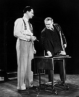 0127029 © Granger - Historical Picture ArchiveDEATH OF A SALESMAN, 1949.   Lee Cobb, right, as the salesman Willy Loman in the original Broadway production, 1949, of Arthur Miller's play 'The Death of a Salesman.'