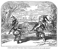 0266249 © Granger - Historical Picture ArchiveENGLAND: PANTOMIME, 1850.   Scene from the pantomime, 'The Merry Wives of Windsor; or, Harlequin and Sir John Falstaff,' at the Surrey Theatre in London. Engraving, English, 1850.
