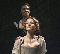 0372505 © Granger - Historical Picture ArchiveTHEATER PERFORMANCE.    'Othello' - Michelle Fairley as Emilia and Kelly Reilly as Desdemona at the Donmar Warehouse, London. Opened on 4 December 2007. Directed by Michael Grandage. Full credit: Tristram Kenton / Lebrecht Music & Arts / Granger, NYC -- All Rights Reserved.