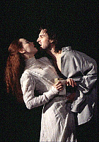 0374320 © Granger - Historical Picture ArchiveTHEATER PERFORMANCE.    'Hamlet' - with Ralph Fiennes as Hamlet and Tara Fitzgerald as Ophelia. At the Hackney Empire, London, February 2005. Play by William Shakespeare. English poet and playwright baptised 26 April 1564 – 23 April 1616. Full credit: Tristram Kenton / Lebrecht Music & Arts / Granger, NYC -- All Rights Reserved.