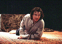 0374321 © Granger - Historical Picture ArchiveTHEATER PERFORMANCE.    Ralph Fiennes - in the title role of 'Hamlet.' At the Hackney Empire, London, February 2005. Play by William Shakespeare. English poet and playwright baptised 26 April 1564 – 23 April 1616. Full credit: Tristram Kenton / Lebrecht Music & Arts / Granger, NYC -- All rights rese