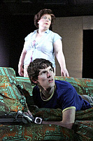 0376387 © Granger - Historical Picture ArchiveTHEATER PERFORMANCE.    DBC Pierre's (Peter Warren Finlay) play 'Vernon God Little' at the Young Vic Theatre, London, UK, May 2007 - Joanna Scanlon as Mom and Colin Morgan as Vernon. Full credit: Tristram Kenton / Lebrecht Music & Arts / Granger, NYC -- All Rights Reserved.