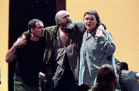 0378429 © Granger - Historical Picture ArchiveTHEATER PERFORMANCE.    'Fidelio' - scene from the opera by Ludwig van Beethoven with Kim Begley (Florestan) and Charlotte Margiono (Leonore, disguised as Fidelio) at Glyndebourne, England, opened 17 May 2001. LvB: German composer, 17 December 1770 - 26 March 1827. Full credit: Tristram Kenton / Lebrecht Music & Arts / Granger, NYC -- All rights reserved.