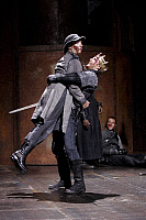0378934 © Granger - Historical Picture ArchiveTHEATER PERFORMANCE.    Henry V - shown: Jonathan Slinger as Captain Fluellen and Geoffrey Streatfeild as Henry V. Royal Shakespeare Company production of Shakespeare's Henry V at the Courtyard Theatre, Stratford upon Avon. Opened 2 November 2007. Play by William Shakespeare. English poet and playwright baptised 26 April 1564 – 23 April 1616. Full credit: T