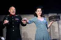 0382587 © Granger - Historical Picture ArchiveTHEATER PERFORMANCE.    'Macbeth' - shown: Patrick Stewart as Macbeth and Kate Fleetwood as Lady Macbeth in Shakespeare's Macbeth. At the Gielgud Theatre, London. Opened 26 September 2007. Play by William Shakespeare. English poet and playwright baptised 26 April 1564 – 23 April 1616. Full credit: Tristram Kenton / Lebrecht Music & Arts / The Granger Collect