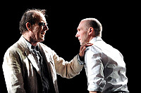 0402216 © Granger - Historical Picture ArchiveTHEATER PERFORMANCE.    Alan Howard and Ralph Fiennes in 'Oedipus' at Olivier, National Theatre, London, Opening 15 October 2008. Full credit: Tristram Kenton / Lebrecht Music & Arts / Granger, NYC -- All rights reserved.