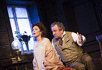 0402337 © Granger - Historical Picture ArchiveTHEATER PERFORMANCE.    Anna Friel (Yelena) and Ken Stott (Vanya) in 'Uncle Vanya' by Anton Chekhov at Vaudeville. Directed by Lindsay Posner. Designer Christopher Oram. Translated by Christopher Hampton. (Opening 2-11-12). Full credit: Tristram Kenton / Lebrecht Music & Arts / Granger, NYC -- All Rights Reserved.