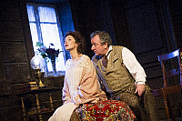0402347 © Granger - Historical Picture ArchiveTHEATER PERFORMANCE.    Anna Friel (Yelena) and Ken Stott (Vanya) in 'Uncle Vanya' by Anton Chekhov at Vaudeville. Directed by Lindsay Posner. Designer Christopher Oram. Translated by Christopher Hampton. (Opening 2-11-12). Full credit: Tristram Kenton / Lebrecht Music & Arts / Granger, NYC -- All Rights Reserved.