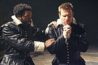 0402633 © Granger - Historical Picture ArchiveTHEATER PERFORMANCE.    Chiwetel Ejiofor (Othello) and Ewan McGregor (Iago) in 'Othello' at Donmar Warehouse, London, 4 December 2007. Directed by Michael Grandage. 'Othello' by William Shakespeare c.1603. WS: English playwright 1564 - 1616. Full credit: Tristram Kenton / Lebrecht Music & Arts / Granger, NYC -- All Rights Reserved.