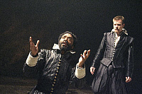 0402634 © Granger - Historical Picture ArchiveTHEATER PERFORMANCE.    Chiwetel Ejiofor (Othello) and Ewan McGregor (Iago) in 'Othello' at Donmar Warehouse, London, 4 December 2007. Directed by Michael Grandage. 'Othello' by William Shakespeare c.1603. WS: English playwright 1564 - 1616. Full credit: Tristram Kenton / Lebrecht Music & Arts / Granger, NYC -- All Rights Reserved.