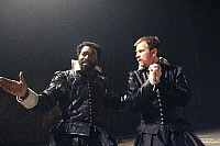 0402635 © Granger - Historical Picture ArchiveTHEATER PERFORMANCE.    Chiwetel Ejiofor (Othello) and Ewan McGregor (Iago) in 'Othello' at Donmar Warehouse, London, 4 December 2007. Directed by Michael Grandage. 'Othello' by William Shakespeare c.1603. WS: English playwright 1564 - 1616. Full credit: Tristram Kenton / Lebrecht Music & Arts / Granger, NYC -- All Rights Reserved.