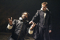 0402636 © Granger - Historical Picture ArchiveTHEATER PERFORMANCE.    Chiwetel Ejiofor (Othello) and Ewan McGregor (Iago) in 'Othello' at Donmar Warehouse, London, 4 December 2007. Directed by Michael Grandage. 'Othello' by William Shakespeare c.1603. WS: English playwright 1564 - 1616. Full credit: Tristram Kenton / Lebrecht Music & Arts / Granger, NYC -- All Rights Reserved.