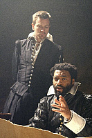 0403018 © Granger - Historical Picture ArchiveTHEATER PERFORMANCE.    Ewan MacGregor (Iago) and Chiwetel Ejiofor (Othello) in 'Othello' at Donmar Warehouse, London, 4 December 2007. Directed by Michael Grandage. 'Othello' by William Shakespeare c.1603. WS: English playwright 1564 - 1616. Full credit: Tristram Kenton / Lebrecht Music & Arts / Granger, NYC -- All Rights Reserved.