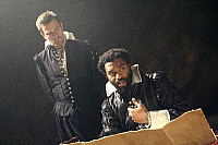 0403021 © Granger - Historical Picture ArchiveTHEATER PERFORMANCE.    Ewan McGregor (Iago) and Chiwetel Ejiofor (Othello) in 'Othello' at Donmar Warehouse, London, 4 December 2007. Directed by Michael Grandage. 'Othello' by William Shakespeare c.1603. WS: English playwright 1564 - 1616. Full credit: Tristram Kenton / Lebrecht Music & Arts / Granger, NYC -- All Rights Reserved.