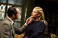 0403073 © Granger - Historical Picture ArchiveTHEATER PERFORMANCE.    'Flare Path' by Terence Rattigan, Theatre Royal Haymarket, London. Scene with James Purefoy (as Peter) and Sienna Miller (as Patricia). Opening 10 March 2011. Full credit: Tristram Kenton / Lebrecht Music & Arts / Granger, NYC -- All Rights Reserved.