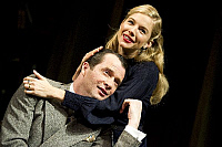 0403074 © Granger - Historical Picture ArchiveTHEATER PERFORMANCE.    'Flare Path' by Terence Rattigan, Theatre Royal Haymarket, London. Scene with James Purefoy (as Peter) and Sienna Miller (as Patricia). Opening 10 March 2011. Full credit: Tristram Kenton / Lebrecht Music & Arts / Granger, NYC -- All Rights Reserved.