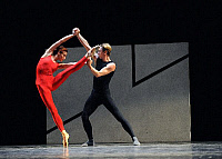 0403339 © Granger - Historical Picture ArchiveTHEATER PERFORMANCE.    Igor Kolb and Ekaterina Kondaurova in Steptext, part of the Forsythe Programme by The Mariinsky Ballet at Sadler's Wells, London, Opening 13 October 2008. Full credit: Tristram Kenton / Lebrecht Music & Arts / Granger, NYC -- All Rights Reserved.