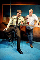 0403531 © Granger - Historical Picture ArchiveTHEATER PERFORMANCE.    Joseph Fiennes as Deputy and Ian Hart as AG in '2,000 Feet Away' at Bush Theatre, London. Opened 11 June 2008. Play by Anthony Weigh. JF: English actor, born 27 May 1970. IH: English actor, born 8 October 1964. Full credit: Tristram Kenton / Lebrecht Music & Arts / Granger, NYC -- All Rights Reserved.