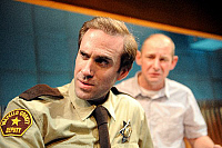0403532 © Granger - Historical Picture ArchiveTHEATER PERFORMANCE.    Joseph Fiennes as Deputy and Ian Hart as AG in '2,000 Feet Away' at Bush Theatre, London. Opened 11 June 2008. Play by Anthony Weigh. JF: English actor, born 27 May 1970. IH: English actor, born 8 October 1964. Full credit: Tristram Kenton / Lebrecht Music & Arts / Granger, NYC -- All Rights Reserved.