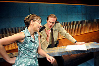 0403534 © Granger - Historical Picture ArchiveTHEATER PERFORMANCE.    Joseph Fiennes as Deputy and Kirsty Bushell in '2,000 Feet Away' at Bush Theatre, London. Opened 11 June 2008. Play by Anthony Weigh. JF: English actor, born 27 May 1970. Full credit: Tristram Kenton / Lebrecht Music & Arts / Granger, NYC -- All rights reserved.