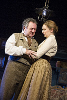 0403610 © Granger - Historical Picture ArchiveTHEATER PERFORMANCE.    Ken Stott (Vanya) and Laura Carmichael (Sonya) in 'Uncle Vanya' by Anton Chekhov at Vaudeville. directed by Lindsay Posner. Designer Christopher Oram. Translated by Christopher Hampton. (Opening 2-11-12). Full credit: Tristram Kenton / Lebrecht Music & Arts / Granger, NYC -- All Rights Reserved.