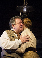 0403611 © Granger - Historical Picture ArchiveTHEATER PERFORMANCE.    Ken Stott (Vanya) and Laura Carmichael (Sonya) in 'Uncle Vanya' by Anton Chekhov at Vaudeville. directed by Lindsay Posner. Designer Christopher Oram. Translated by Christopher Hampton. (Opening 2-11-12). Full credit: Tristram Kenton / Lebrecht Music & Arts / Granger, NYC -- All Rights Reserved.