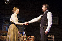 0403713 © Granger - Historical Picture ArchiveTHEATER PERFORMANCE.    Laura Carmichael (Sonya) and Samuel West (Doctor Astrov) in 'Uncle Vanya' by Anton Chekhov at Vaudeville. directed by Lindsay Posner. Designer Christopher Oram. Translated by Christopher Hampton. (Opening 2-11-12). Full credit: Tristram Kenton / Lebrecht Music & Arts / Granger, NYC -- All Rights Reserved.