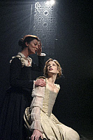0403927 © Granger - Historical Picture ArchiveTHEATER PERFORMANCE.    Michelle Fairley (Emilia) and Kelly Reilly (Desdemona) in 'Othello' at Donmar Warehouse, London, 4 December 2007. Directed by Michael Grandage. 'Othello' by William Shakespeare c.1603. WS: English playwright 1564 - 1616. Full credit: Tristram Kenton / Lebrecht Music & Arts / Granger, NYC -- All rights reserved.