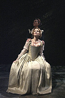 0403928 © Granger - Historical Picture ArchiveTHEATER PERFORMANCE.    Michelle Fairley (Emilia) and Kelly Reilly (Desdemona) in 'Othello' at Donmar Warehouse, London, 4 December 2007. Directed by Michael Grandage. 'Othello' by William Shakespeare c.1603. WS: English playwright 1564 - 1616. Full credit: Tristram Kenton / Lebrecht Music & Arts / Granger, NYC -- All rights reserved.