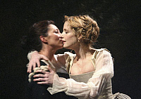 0403929 © Granger - Historical Picture ArchiveTHEATER PERFORMANCE.    Michelle Fairley (Emilia) and Kelly Reilly (Desdemona) in 'Othello' at Donmar Warehouse, London, 4 December 2007. Directed by Michael Grandage. 'Othello' by William Shakespeare c.1603. WS: English playwright 1564 - 1616. Full credit: Tristram Kenton / Lebrecht Music & Arts / Granger, NYC -- All rights reserved.