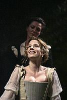 0403930 © Granger - Historical Picture ArchiveTHEATER PERFORMANCE.    Michelle Fairley (Emilia) and Kelly Reilly (Desdemona) in 'Othello' at Donmar Warehouse, London, 4 December 2007. Directed by Michael Grandage. 'Othello' by William Shakespeare c.1603. WS: English playwright 1564 - 1616. Full credit: Tristram Kenton / Lebrecht Music & Arts / Granger, NYC -- All rights reserved.