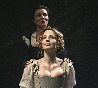 0403931 © Granger - Historical Picture ArchiveTHEATER PERFORMANCE.    Michelle Fairley (Emilia) and Kelly Reilly (Desdemona) in 'Othello' at Donmar Warehouse, London, 4 December 2007. Directed by Michael Grandage. 'Othello' by William Shakespeare c.1603. WS: English playwright 1564 - 1616. Full credit: Tristram Kenton / Lebrecht Music & Arts / Granger, NYC -- All rights reserved.