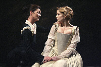 0403933 © Granger - Historical Picture ArchiveTHEATER PERFORMANCE.    Michelle Fairley (Emilia) and Kelly Reilly (Desdemona) in 'Othello' at Donmar Warehouse, London, 4 December 2007. Directed by Michael Grandage. 'Othello' by William Shakespeare c.1603. WS: English playwright 1564 - 1616. Full credit: Tristram Kenton / Lebrecht Music & Arts / Granger, NYC -- All rights reserved.