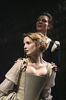 0403934 © Granger - Historical Picture ArchiveTHEATER PERFORMANCE.    Michelle Fairley (Emilia) and Kelly Reilly (Desdemona) in 'Othello' at Donmar Warehouse, London, 4 December 2007. Directed by Michael Grandage. 'Othello' by William Shakespeare c.1603. WS: English playwright 1564 - 1616. Full credit: Tristram Kenton / Lebrecht Music & Arts / Granger, NYC -- All rights reserved.