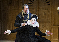 0404690 © Granger - Historical Picture ArchiveTHEATER PERFORMANCE.    Stephen Fry (Malvolio) and Mark Rylance (Olivia) in Twelfth Night by William Shakespeare at Apollo Theatre, London. (Opening 16-11-12). Full credit: Tristram Kenton / Lebrecht Music & Arts / Granger, NYC -- All right